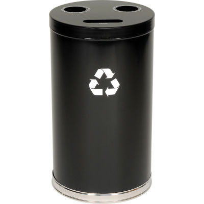 """3-In-1 Steel Recycling Container Black 18""""Dia X 33""""H - 18RTBK"""