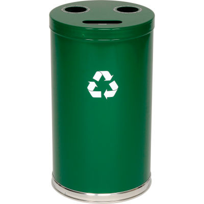 "3-In-1 Steel Recycling Container Green 18""Dia x 33""H - 18RTGN"