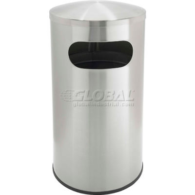 Precision® Stainless Steel Round Trash Can With Dome Lid, 15 Gallon
