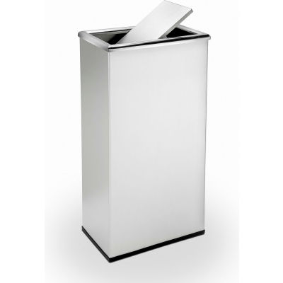 Stainless Steel Waste Container, 13-1/2 Gallon, Rectangular Swivel Lid - 780829