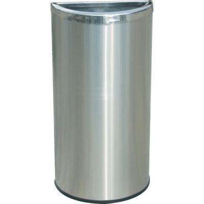 Stainless Steel Waste Container, 8 Gallon, Half Moon - 780929