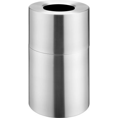 Global Industrial™ Aluminum Round Open Top Trash Can, 35 Gallon, Satin Clear