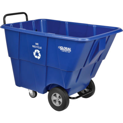 Global Industrial™ Blue Recycling Tilt Truck 1/2 Cubic Yard and 750 Lb. Capacity