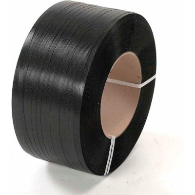 """Pac Strapping 16"""" x 6"""" Core Polypropylene Strapping, 9000'L x 1/2""""W x 0.018"""" Thick, Black, 1 Pack"""