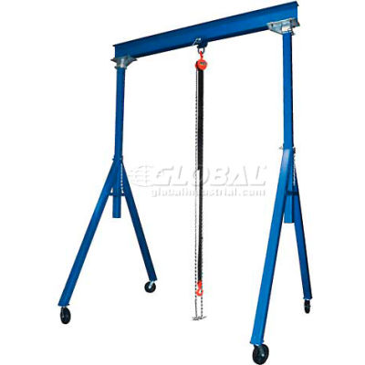 "Adjustable Height Steel Gantry Crane, 10'W x 8'6""-14'H, 2000 Lb. Capacity"