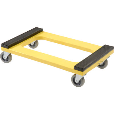 """Global Industrial™ Plastic Dolly with Rubber Padded Deck - 4"""" Casters 1000 Lb. Capacity"""