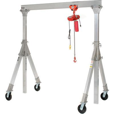 Aluminum Gantry Crane AHA-15-12-10-PNU Adj. Ht. Pneumatic Casters 1500 Lb