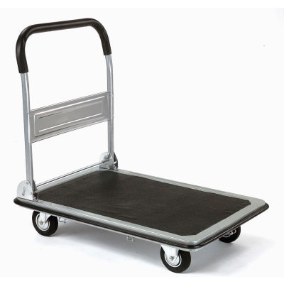 """Global Industrial™ Folding Platform Truck With Solid Steel Deck, 28"""" x 18"""", 400 Lb. Capacity"""