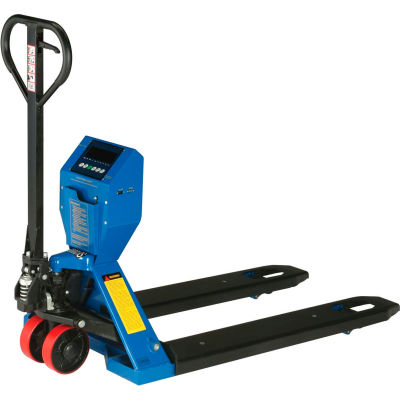 """Global Industrial™ Low-Profile Pallet Jack Scale Truck, 27""""W x 48""""L Forks, 5000 Lb. Capacity"""