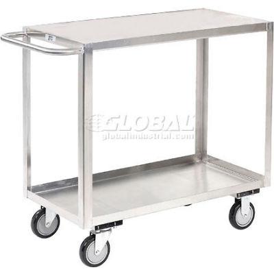 Stainless Steel Stock Cart 2 Shelves Flush Top Shelf 36x24