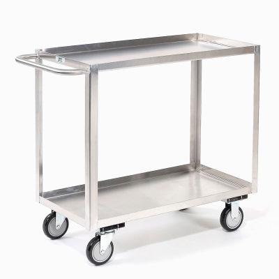 Stainless Steel Stock Cart 2 Shelves Tray Top Shelf 48x24