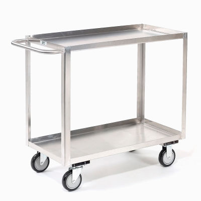 Stainless Steel Stock Cart 2 Shelves Tray Top Shelf 48x24