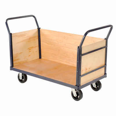 Global Industrial™ Euro Truck with 3 Wood Sides & Deck 60 x 30 2000 Lb. Capacity
