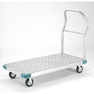"Global Industrial™ Aluminum Diamond Deck Platform Truck 48x30 1400 Lb. Cap. 5"" Rubber Casters"