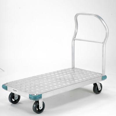 "Global Industrial™ Aluminum Diamond Deck Platform Truck 48x30 2000 Lb. Cap. 6"" Rubber Casters"