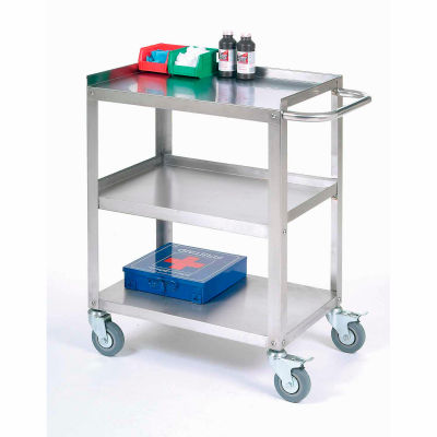 """Global Industrial™ Stainless Steel Utility Cart 24""""L x 16-1/4""""W x 33""""H 400 Lb. Cap."""