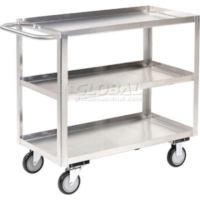 Stainless Steel Stock Cart 3 Shelves Tray Top Shelf 36x24