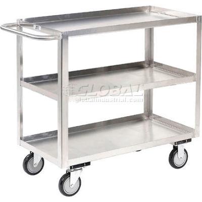 Stainless Steel Stock Cart 3 Shelves Tray Top Shelf 30x18
