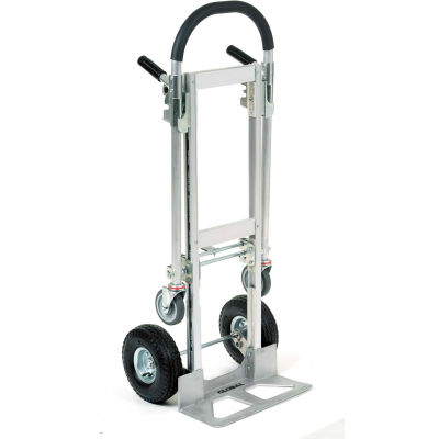 Global Industrial™ Best Value Junior Aluminum 2-in-1 Convertible Hand Truck - Pneumatic Wheels