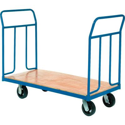 "Global Industrial™ Wood Deck Platform Truck 6"" Mold-On Rubber Wheels 2400 Lb. Capacity"