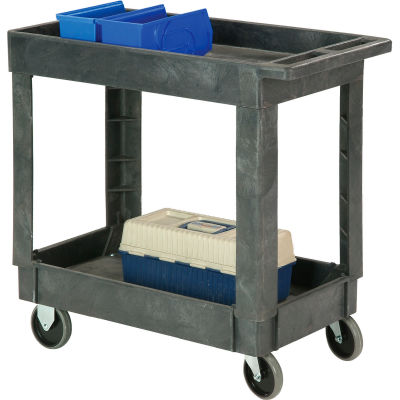 """Global Industrial™ Plastic 2 Shelf Tray Service & Utility Cart 34x17 5"""" Casters"""