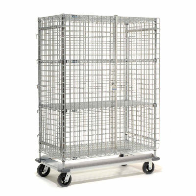 """Dolly Base Security Truck, Chrome, 24""""W x 60""""L x 70""""H, Rubber, 2 Swivel, 2 Rigid Casters"""