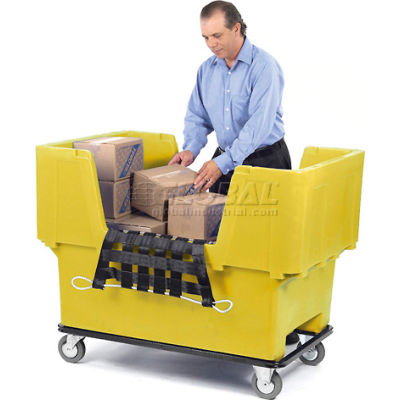 Dandux Yellow Easy Access 18 Bushel Plastic Mail & Box Truck 51166718Y-5S with Cargo Net