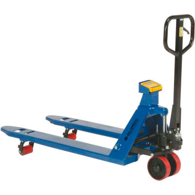 Global Industrial™ Pallet Jack Scale Truck with Weight Indicator 5500 Lb. Cap. 27 x 48 Forks