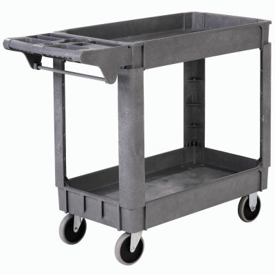 "Global Industrial™ Deluxe Small 2 Shelf Plastic Utility & Service Cart 5"" Rubber Casters"