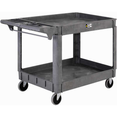 "Global Industrial™ Large Deluxe 2 Shelf Plastic Utility & Service Cart 5"" Rubber Casters"