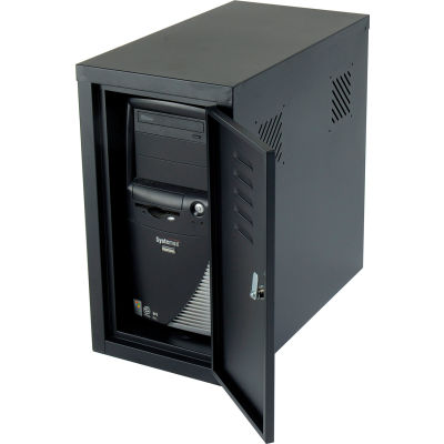 Global Industrial™ Security Computer CPU Enclosed Cabinet Side Car, Black