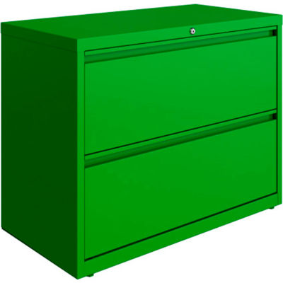 Hirsh Industries® HL10000 Series® Lateral File 36 Wide 2-Drawer - Screamin' Green