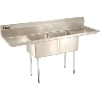"""Aero Manufacturing Company® Two Bowl SS sink 18 x 18 with 16-1/2"""" Right & Left Sided Drainboard"""