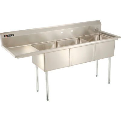 Aero Manufacturing Company® AF3-181 3 Compartment Sink, 18 x 18, Left Side Drainboard