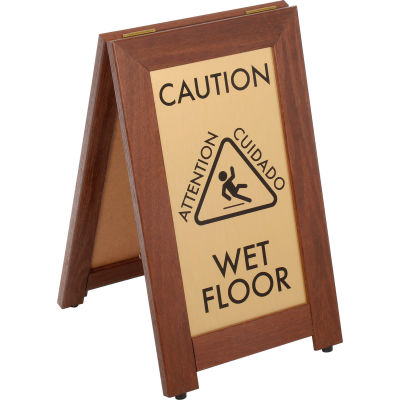 "CAUTION WET FLOOR Sign With Rubber Feet, 12""x20"", Walnut"