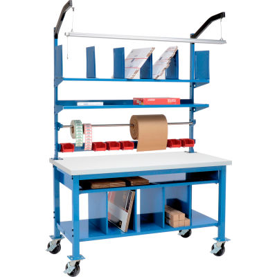 Global Industrial™ Complete Mobile Packing Workbench Plastic Square Edge - 60 x 30