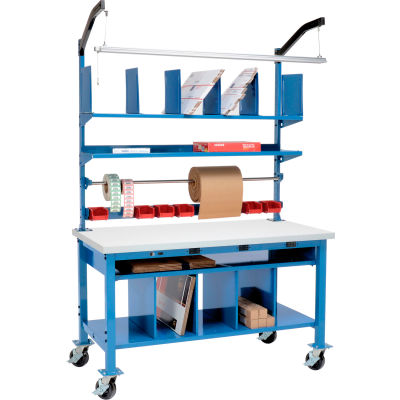 Global Industrial™ Complete Mobile Electric Packing Workbench Plastic Square Edge - 60 x 30