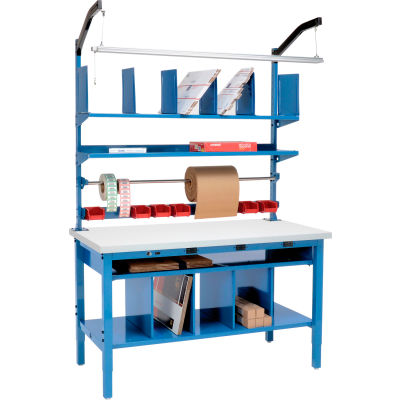 Global Industrial™ Complete Electric Packing Workbench Plastic Square Edge - 72 x 30
