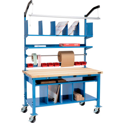 Global Industrial™ Complete Mobile Electric Packing Workbench Maple Block Square Edge 72 x 30