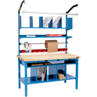 Global Industrial™ Complete Electric Packing Workbench Maple Butcher Block Square Edge 72 x 30
