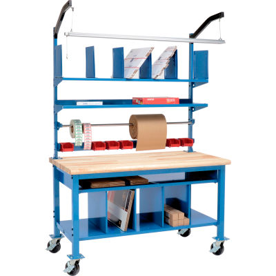 Global Industrial™ Complete Mobile Packing Workbench Maple Butcher Block Safety Edge - 60 x 30