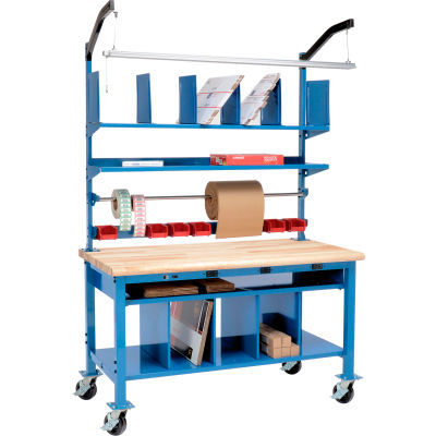 Global Industrial™ Complete Mobile Electric Packing Workbench Maple Block Safety Edge 72 x 30