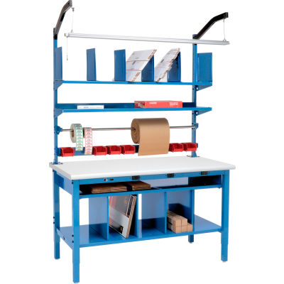 """Global Industrial™ Complete Packing Workbench W/Power Apron, ESD Safety Edge, 72""""W x 30""""D"""