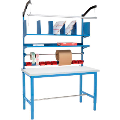 Global Industrial™ Packing Workbench Plastic Square Edge - 72 x 30 with Riser Kit