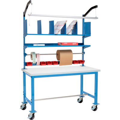 Global Industrial™ Mobile Packing Workbench Plastic Square Edge - 60 x 30 with Riser Kit