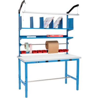"Global Industrial™ Electric Packing Workbench W/Riser Kit, Plastic Square Edge, 60""Wx30""D, Blue"