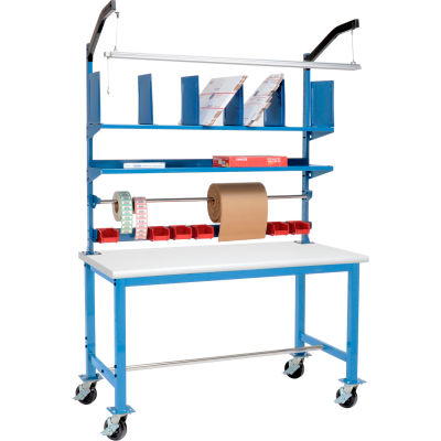 Global Industrial™ Mobile Packing Workbench Plastic Safety Edge - 60 x 30 with Riser Kit