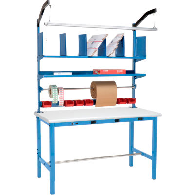 Global Industrial™ Electric Packing Workbench Plastic Safety Edge - 60 x 30 with Riser Kit