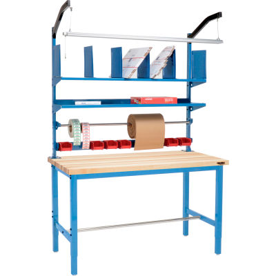 Global Industrial™ Packing Workbench Maple Butcher Block Square Edge - 60 x 30 with Riser Kit