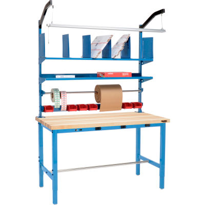 Global Industrial™ Electric Packing Workbench Maple Block Square Edge 72 x 30 - Riser Kit
